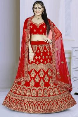 Red embroidered velvet semi stitched bridal lehenga