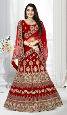 Red zari embroidered velvet semi stitched Wedding lehenga