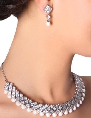 American Diamond Pearl Neckline Set
