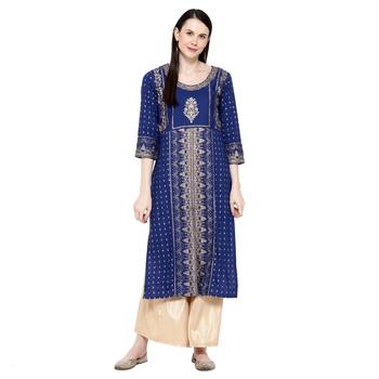 Aqua-blue printed rayon ethnic-kurtis