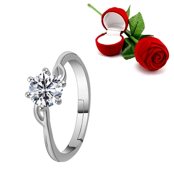 Silver Plated Adjustable Ring with 1 Piece Red Rose Gift Box for Girls and women