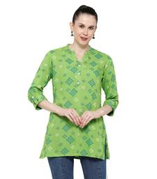 Parrot-green printed rayon short-kurtis