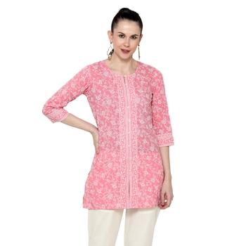 Pink printed cotton short-kurtis