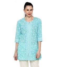 Light-blue printed cotton short-kurtis