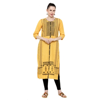 Dark-green printed rayon ethnic-kurtis