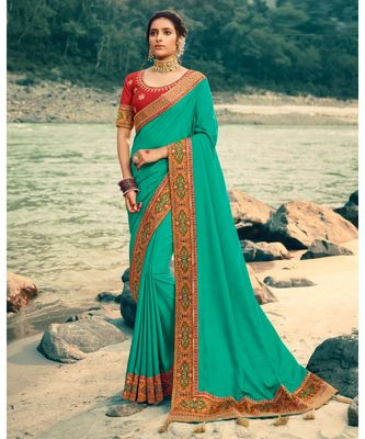 Persian Green Embroidered Silk Saree with Blouse