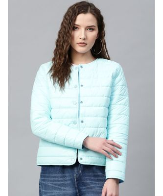 Blue Snap Button Quilted Jacket