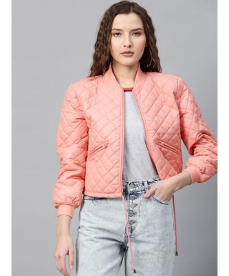 Peach Drawstring Quilted Bomber Jacket