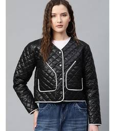 Black Piping Detail Quilted Jacket