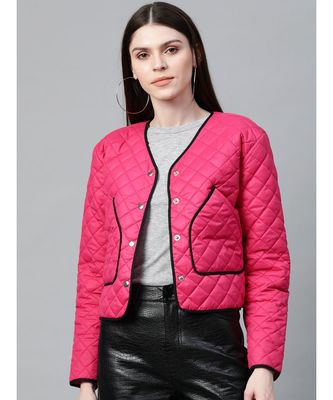 Fuchsia Piping Detail Quilted Jacket