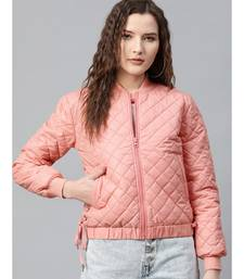 Peach Tie-Up Detail Quilted Bomber Jacket