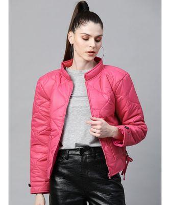 Fuchsia Front Pocket Puffer Jacket