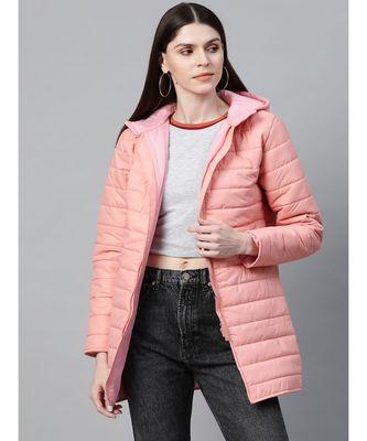 Peach Hooded Long Puffer Jacket