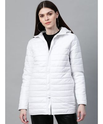 White Hooded Long Puffer Jacket