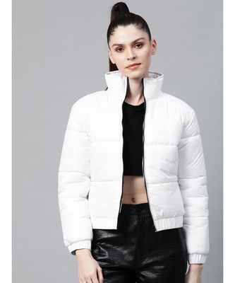 White Full Sleeve Quilted Jacket