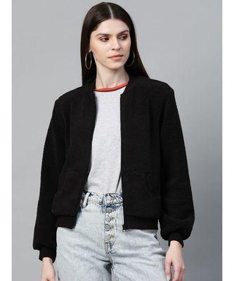 Black Fur Bomber Jacket