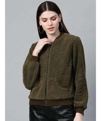 Olive Fur Bomber Jacket