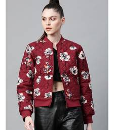 Burgundy Floral Polysilk Bomber Jacket