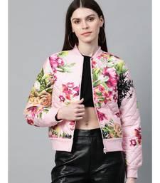 Pink Floral Polysilk Bomber Jacket