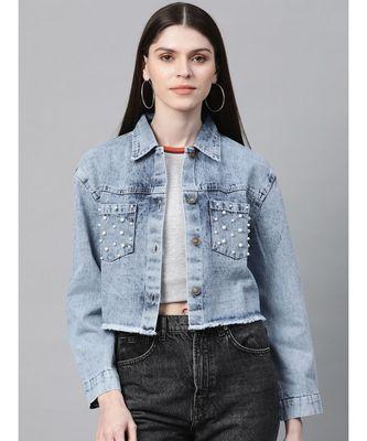 Blue Washed Denim Pearl Pocket Jacket