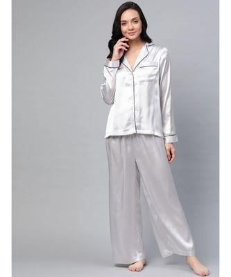 Grey Satin Night Suit