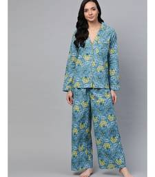 Teal Floral Night Suit