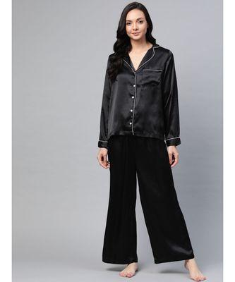 Black Satin Night Suit