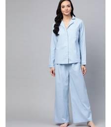 Blue Cotton Night Suit