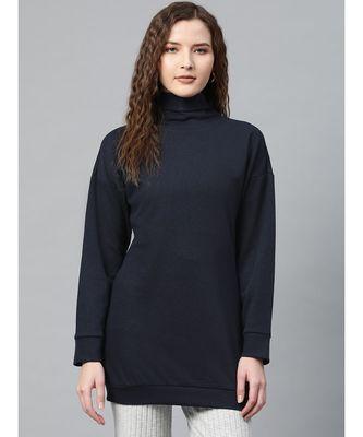 Navy Blue High Neck Rib Sweater