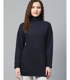 Navy Blue High Neck Rib Sweater