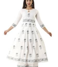 White block print cotton salwar