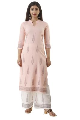 Peach block print cotton salwar