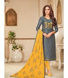 grey  embroidered silk party-wear-salwar-kameez