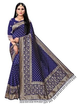Navy blue printed banarasi saree with blouse