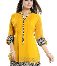 Yellow plain georgette short-kurtis