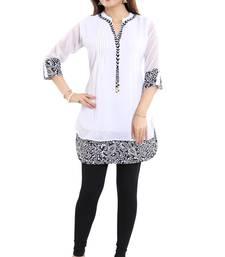 White plain georgette short-kurtis