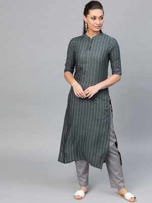 Women's Grey Striped Straight Kurta