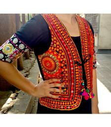 Multicolored Mirror Work Kutch Embroidered Long Koti With Pompom Tassel