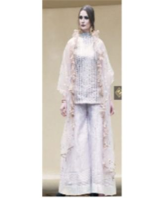 Short kurta with all over embroidered with silver ghota and sharara with silver patti.