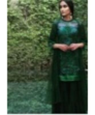 Green sharara set with all over sequence detailing in kurta with georgette sharara with ruffle net duppata.