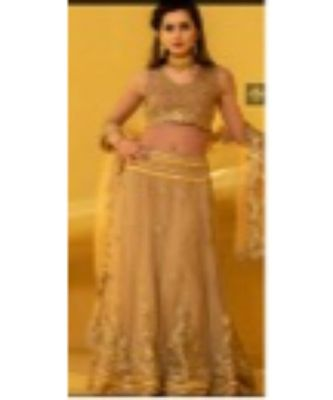 Net lehenga with gotta work and blouse with hand embroidery and net duppata with four side floral gotta.