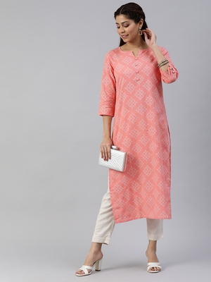 Peach printed cotton cotton-kurtis