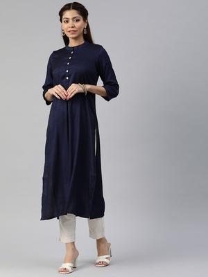 Blue plain viscose cotton-kurtis