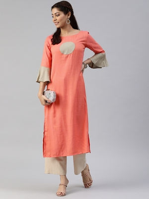 Multicolor plain viscose cotton-kurtis