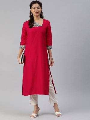 Red plain cotton silk cotton-kurtis