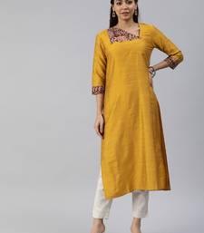 Mustard plain cotton silk cotton-kurtis