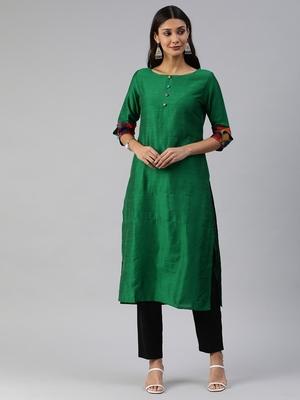 Green plain cotton silk cotton-kurtis