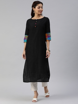 Black plain cotton silk cotton-kurtis