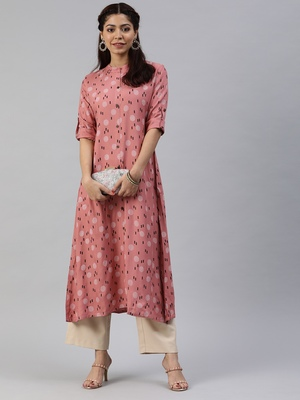 Peach printed viscose cotton-kurtis