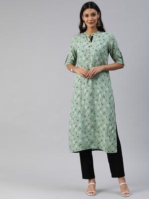 Green printed viscose cotton-kurtis